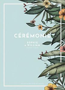 Livret de messe mariage original fleurs des îles vert
