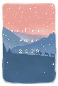 Carte de voeux rose matin d'hiver bleu & rose