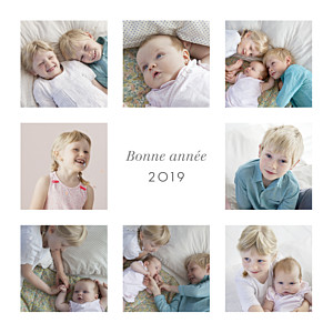 Carte de voeux classique simple 8 photos blanc
