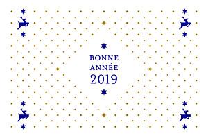 Carte de voeux clémence gantois rennes de noël bleu & doré