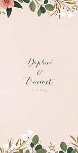Menu de mariage rose daphné (4 pages) printemps