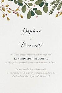 Carton d'invitation mariage blanc daphné portrait hiver