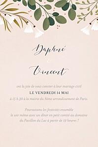 Carton d'invitation mariage rose daphné portrait printemps