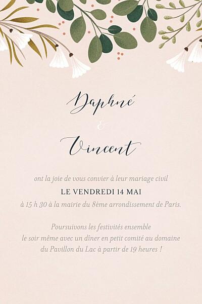 Carton d'invitation mariage Daphné portrait printemps finition