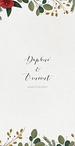 Menu de mariage gris daphné (4 pages) hiver
