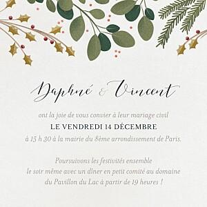 Carton d'invitation mariage classique daphné hiver