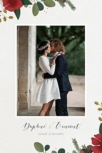 Carte de remerciement mariage avec photo daphné hiver