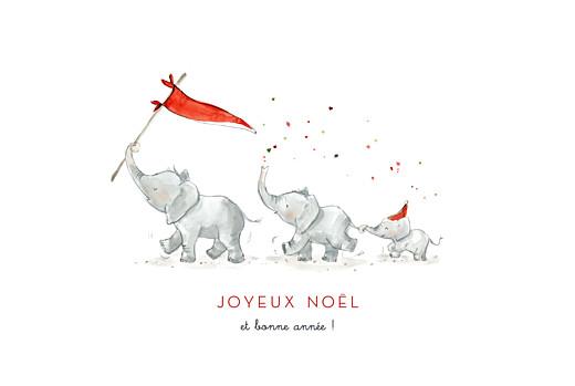 Carte de voeux Le noël des 3 éléphants blanc