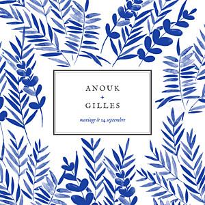 Faire-part de mariage gris feuillage (4 pages) beige et bleu