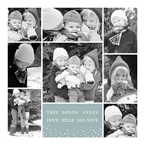 Carte de voeux gris souvenir 8 photos vert gris