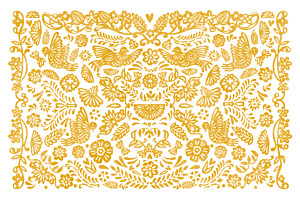 Carte de correspondance orange papel picado jaune