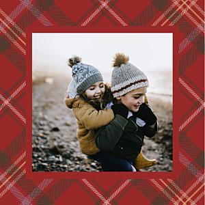 Carte de voeux motifs tissu écossais rouge