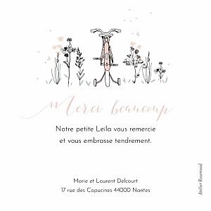 Carte de remerciement petit frère ou petite soeur petit vélo en balade rose