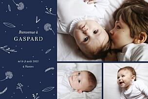 Faire-part de naissance élégant feuillage 3 photos bleu nuit