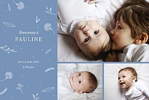 Faire-part de naissance gris élégant feuillage 3 photos bleu clair
