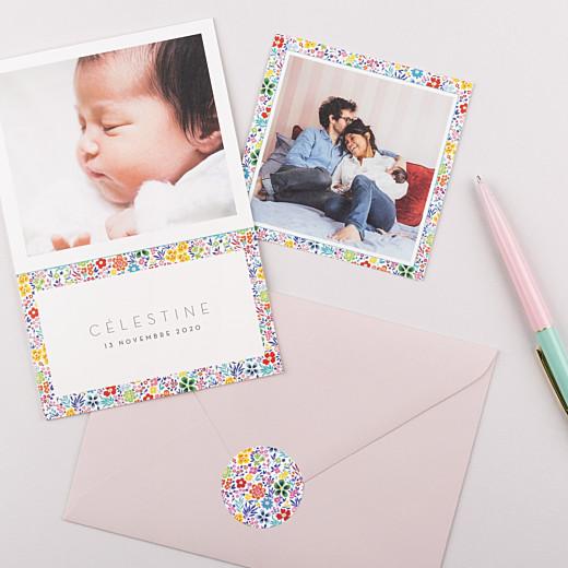 Stickers pour enveloppes naissance Mille fleurs multi-couleur - Gamme