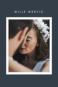 Carte de remerciement mariage bleu corner (dorure) bleu
