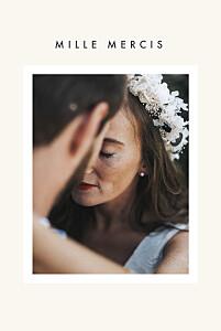 Carte de remerciement mariage avec photo corner (dorure) blanc cassé