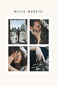Carte de remerciement mariage argentée corner 4 photos (dorure) blanc cassé
