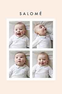 Faire-part de naissance bleu corner (dorure) beige