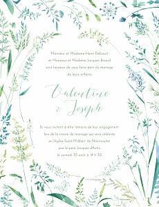 Faire-part de mariage marguerite courtieu les hautes herbes portrait vert