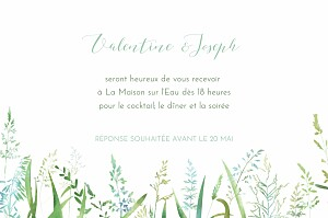 Carton d'invitation mariage vert les hautes herbes vert