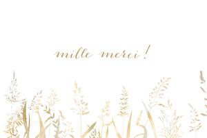 Carte de remerciement mariage gris les hautes herbes sable