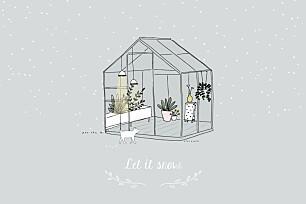 Carte de voeux blanc jardin d'hiver
