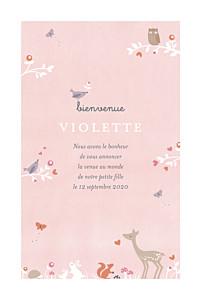 Faire-part de naissance rose forêt enchantée rose