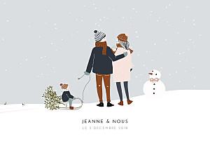 Faire-part de naissance tendance winter family (2 enfants) 1