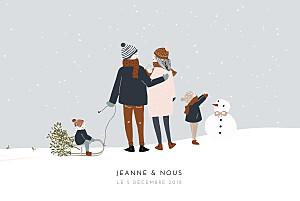 Faire-part de naissance mixte winter family (3 enfants) 1