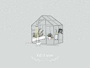 Affichette fille jardin d'hiver gris