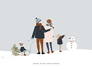 Affichette original winter family (2 enfants) 1