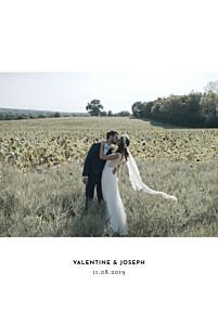 Carte de remerciement mariage argentée galerie 1 photo (dorure) blanc