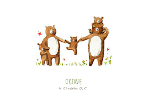 Faire-part de naissance nature 5 ours en famille blanc