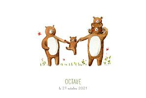 Faire-part de naissance marron 4 ours en famille blanc