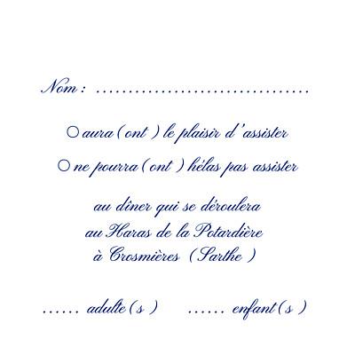 Carton réponse mariage Élégant blanc finition
