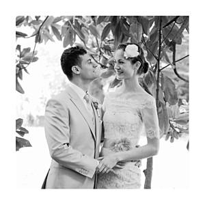 Carte de remerciement mariage petite alma  canopée 1 photo vert