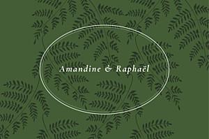 Carton réponse mariage vert joli sous-bois vert