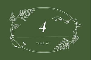 Marque-table mariage joli sous-bois vert