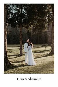 Carte de remerciement mariage avec photo mélopée blanc