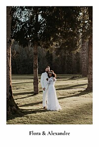 Carte de remerciement mariage original mélopée blanc