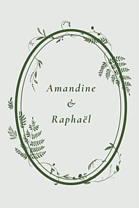 Carton d'invitation mariage traditionnel joli sous-bois (portrait) vert