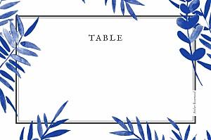 Marque-table mariage bleu feuillage bleu