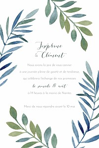 Faire-part de mariage été belle saison bleu