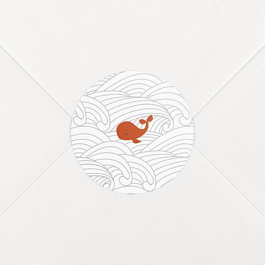 Stickers pour enveloppes naissance Baleines en voyage blanc - Vue 2