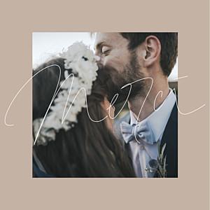 Carte de remerciement mariage moderne le fil 4 pages beige