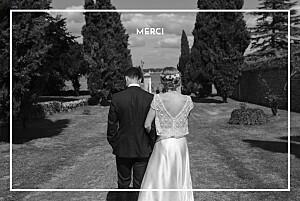 Carte de remerciement mariage avec photo bahia bleu