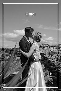 Carte de remerciement mariage avec photo bahia beige