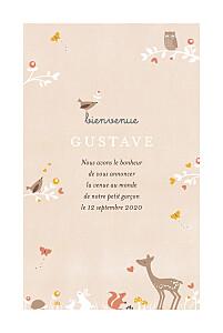 Faire-part de naissance petite alma  forêt enchantée beige